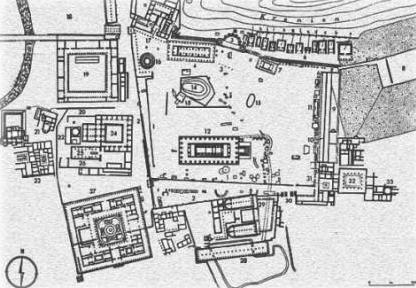 Plano del Santuario de Olimpia.